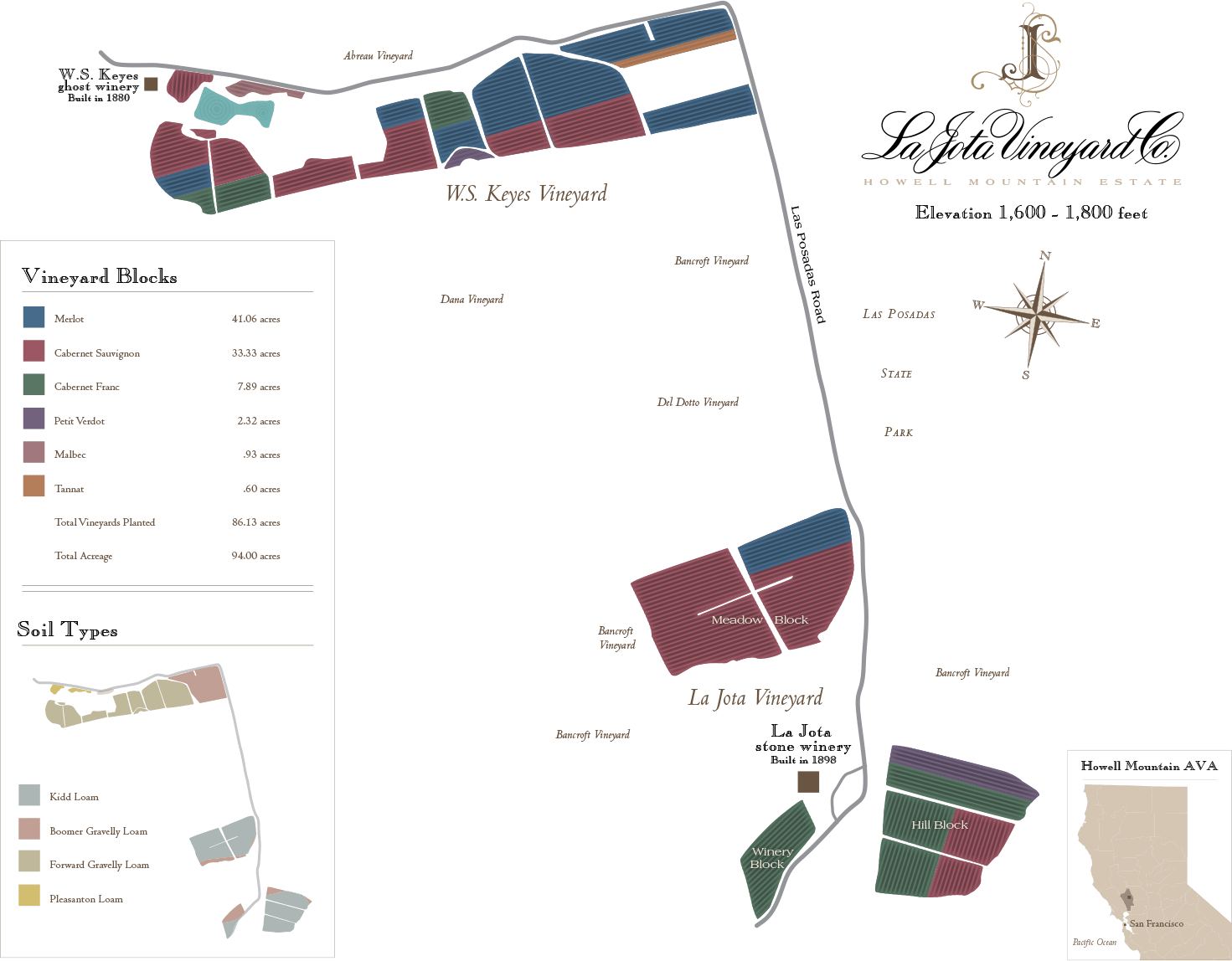 Map of La Jota Vineyards Wine Blocks